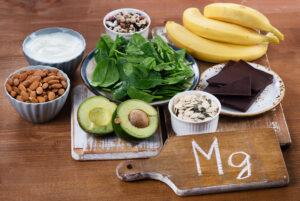 Foods High in Magnesium on wooden table.